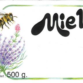Etiquettes gommées FLEUR/AB Miel 500/250g 100p