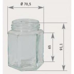 Pot verre hexa 250 g + couv. to 58 métal (100 p.)