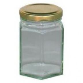Pot verre hexagonal 125 g + couvercle métal 100 p.