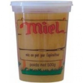 "Pot plastic 500g impression ""Miel"""