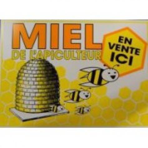 Enseigne Miel de l'apiculeur en vente ici 35/25 cm