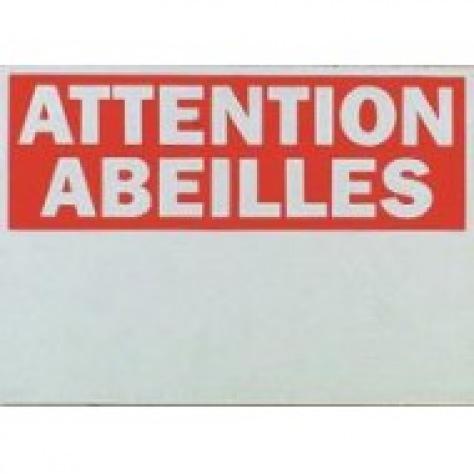 """Plaque rectangulaire """"attention abeilles"""""""