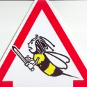 "Plaque triangulaire ""attention abeilles"" dessin"